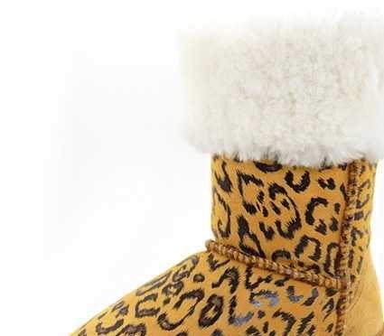 兰牧皮草 豹纹真皮皮毛一体雪地靴 皮草羊毛皮靴 TPR底608翻毛靴