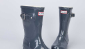 Hunter雨靴灰色中帮亮光雨靴Original Gloss Rain Boot